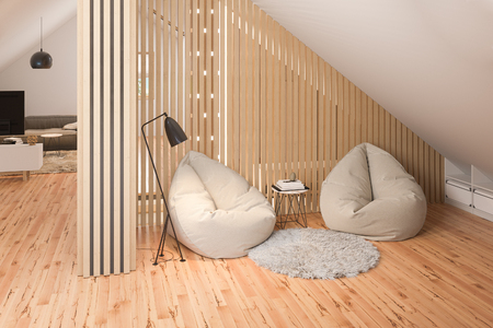 The interior design of the attic floor of a private cottage. 3d render of the interior in the Scandinavian style.