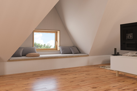 The interior design living room of the attic floor of a private cottage. 3d illustration of the home interior in the Scandinavian style with wood floor parquet Imagens - 120608221