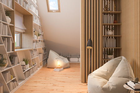 The interior design living room of the attic floor of a private cottage. 3d illustration of the home interior in the Scandinavian style with wood floor parquet Zdjęcie Seryjne