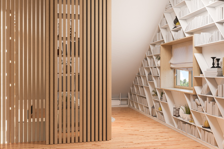 The interior design of the attic floor of a private cottage. 3d render of the interior in the Scandinavian style