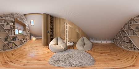 360 spherical panorama of interior design lounge area of the attic floor in a private cottage. 3d illustration of the home interior in the Scandinavian style with wood floor parquet