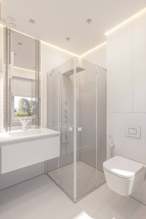 3d illustration of a bathroom in a private cottage. Interior design in white without textures