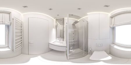 3d illustration of a bathroom in a private cottage. Interior design in white without textures. 360 degree seamless interior panorama