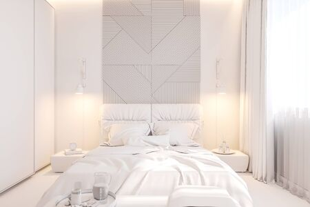 The interior design of the master bedroom in the Scandinavian style. 3d illustration of the interior without texture in white color