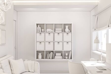 Home office interior design concept in a private cottage. 3d illustration of the interior in white color without textures. For your custom design