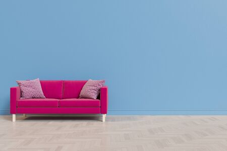 3d illustration of a living room with a fabric sofa against the background of an empty wall and wooden floor. Render for mock up