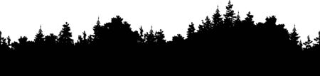Vector forest background, illustration of a silhouette seamless panorama of a coniferous forest
