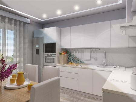 3d illustration of modern kitchen with blue and white facades