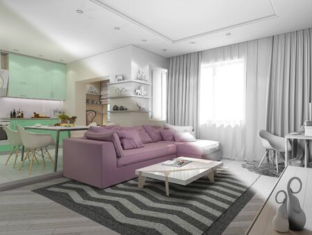 3d render of small apartments in pastel colors. Interor design living room and kitchen in modern style. 3d illustration