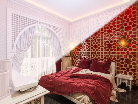 3d illustration, interior design of a hotel room in a traditional Islamic style. 3d render interior decorated with Middle Eastern motifs. Image for presentation, inspiration or design of your product Banque d'images