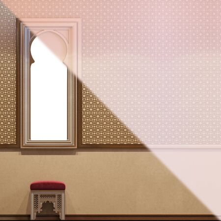 3d illustration interior design hall room in a traditional Islamic style. 3d render interior decorated with Middle Eastern style. Image for presentation, inspiration or design of your product