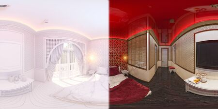3d illustration spherical 360 degrees, seamless panorama of bedroom hotel room in a traditional Islamic style. Beautiful deluxe room background interior view decorated with arabian motifs.