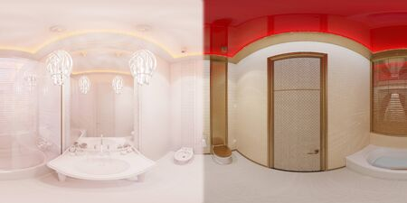 3d illustration spherical 360 degrees, seamless panorama of bathroom hotel room in a traditional Islamic style. Beautiful deluxe room background interior view decorated with arabian motifs. Banque d'images