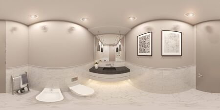 3D render spherical 360 degrees seamless panorama interior of the toilet in a private cottage. Toilet interior design illustration in traditional modern american style. Bathroom design Archivio Fotografico