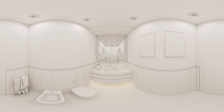3D render spherical 360 degrees seamless panorama interior of the bathroom in a private cottage. Toilet interior design illustration in traditional modern american style. Ambient occlusion style