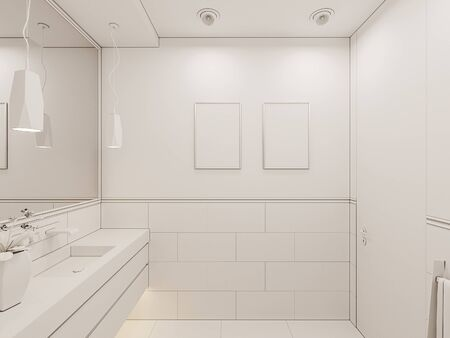 3D render interior of the bathroom in a private cottage. Toilet interior design illustration in traditional modern american style. Ambient occlusion style