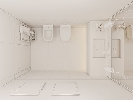 3D render interior of the bathroom in a private cottage. Toilet interior design illustration in traditional modern american style in top view. Ambient occlusion style