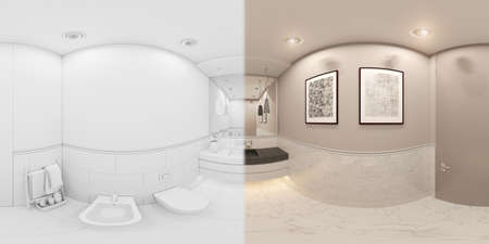 3D render spherical 360 degrees seamless panorama interior of the toilet in a private cottage. Toilet interior design illustration in traditional modern american style. Bathroom design in white color