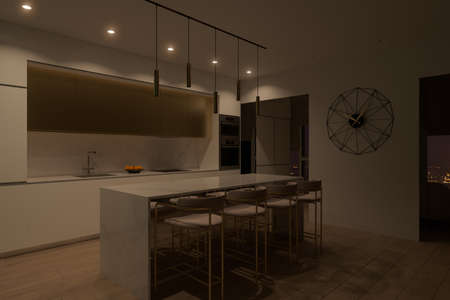3D illustration of a kitchen with night lighting. Kitchen interior design in a modern style. Modern kitchen design ideas 2020
