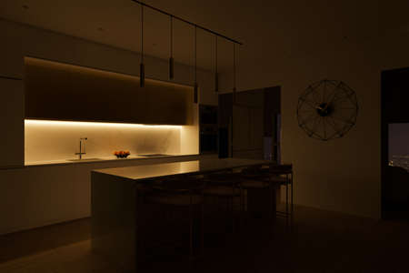 3D illustration of a kitchen with night lighting. Kitchen interior design in a modern style. Kitchen design trends 2020