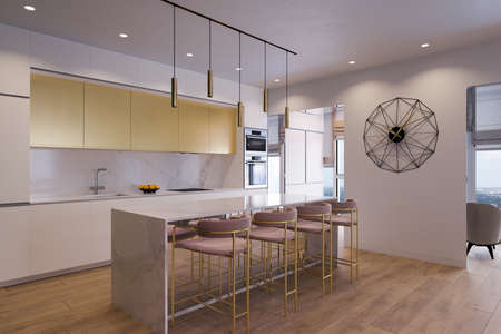 3D illustration of a kitchen with day lighting. Kitchen interior design in a modern style with cooking island. Modern kitchen design ideas 2020