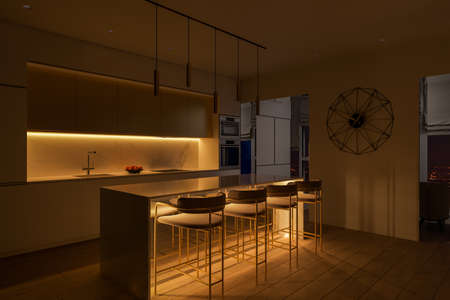 3D illustration of a kitchen with night lighting. Kitchen interior design with led island lighting. Kitchen design ideas 2020 Archivio Fotografico