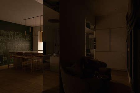 3D render of a kitchen coffee zone with day natural lighting. Kitchen interior design in a modern style. Modern kitchen design ideas Reklamní fotografie