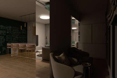 3D illustration of a kitchen recreation zone with night lighting. Kitchen interior design in a modern style. Modern kitchen design ideas