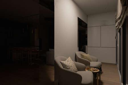 3D render of a kitchen recreation zone with night lighting. Kitchen interior design in a modern style. Modern kitchen design ideas 2020