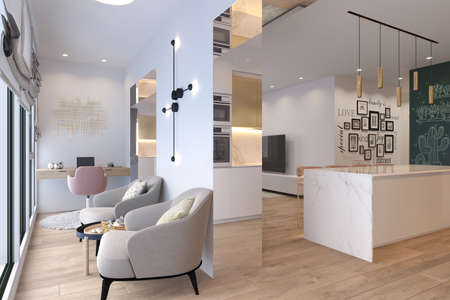 3d illustration interior design of a city apartment. Kitchen and living room with day and artificial lighting. 3d render home office for freelance. Remote work. Convenient area for relaxation and coffee break