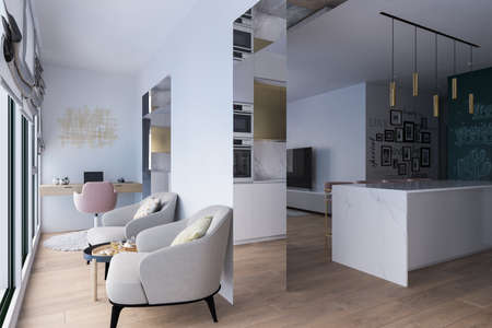 3d illustration interior design of a city apartment. Kitchen and living room with day lighting. 3d render home office for freelance. Remote worker. Convenient area for relaxation and coffee break