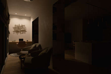 3d illustration interior design of a city apartment. 3d render home office for freelance with night lighting. Remote work. Convenient area for relaxation and coffee break Reklamní fotografie