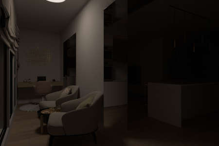 3d illustration interior design of a city apartment. Kitchen and living room with night lighting. 3d render home office for freelance. Remote work. Convenient area for relaxation and coffee break Reklamní fotografie