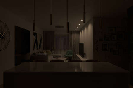 3d render of an interior living room with light under tv zone. Interior design of the apartment with a modern style. Camera angle on the cooking island and the living room area. Interior design trends 2021