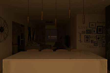 Interior design of the apartment with a modern style. 3d illustration of an interior with night light. Camera angle on the cooking island and the living room area. Interior design trends 2021 Stock Photo