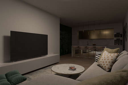 3d illustration of a living room overlooking the kitchen. Interior design in a modern Mediterranean style. Series of illustrations with different lighting designs Reklamní fotografie