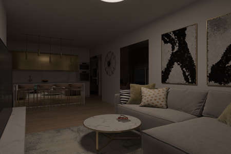 3d render of the living room and kitchen in the night lighting. The light in the living room from the lamp on the ceiling. Night interior lighting. Interior design in modern style