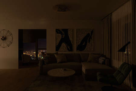 3d illustration of the design of a modern living room with night lighting. A series of visualizations of the interior design of the living room in the style of minimalism. Apartment with large panoramic windows overlooking the night city Stock Photo