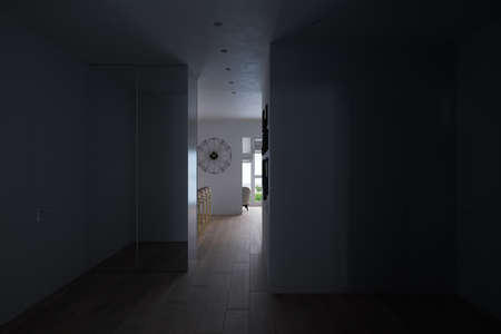 3d render of a modern hallway in an apartment. Interior design of the apartment in the Scandinavian light style. Hallway with a large wardrobe with mirrored doors Reklamní fotografie