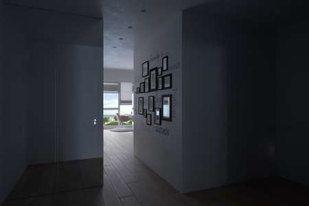 3d visualization of the interior of the hall, city apartment. Render of the Scandinian style interior design. Background for presentation with different lighting. Reklamní fotografie