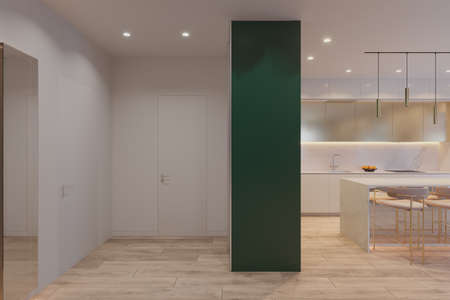 Interior design of the apartment in light colors. Realistic 3D computer visualization of the interior of the kitchen and hall in a modern style.