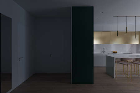 Interior design of the apartment in light colors. Realistic 3D computer visualization of the interior of the kitchen and hall in a modern style. Daylight render