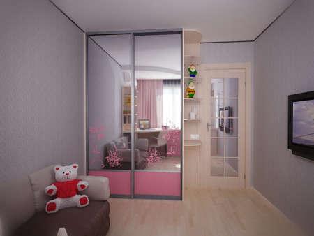 3d illustration concept of interior design of a childrens bedroom for a girl. Bedroom design with pink furniture. Design sketch for discussion