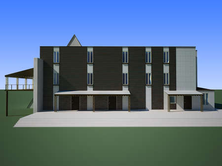 3d render of the building of the tourist base with a restaurant and a hotel