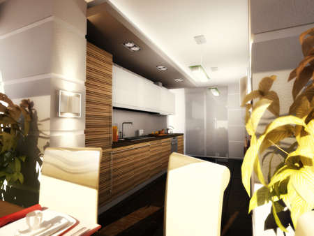 3d illustration of a modern kitchen in an apartment. Kitchen with dark cabinets below and light cabinets at the top.