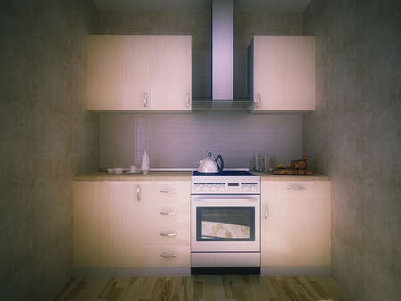 3d illustration of the concept of a small kitchen in an apartment for renting. Mini kitchen in a small apartment