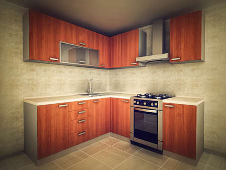 3d illustration of modern kitchen design concept in traditional style. Interior design of the kitchen in light colors. Stockfoto