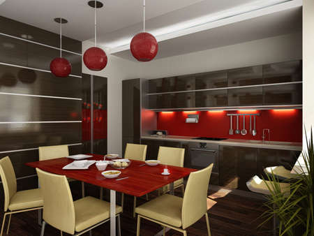 3d illustration of modern apartment interior design. The combined space of the kitchen and living room