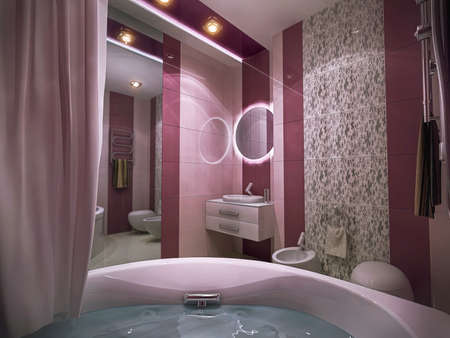 3d illustration of a bathroom in pink colors. Bathroom interior design concept for presentation and ideas.