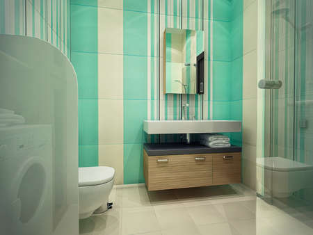 3d illustration of the interior design of a bathroom with a shower. Bathroom concept in mint colors